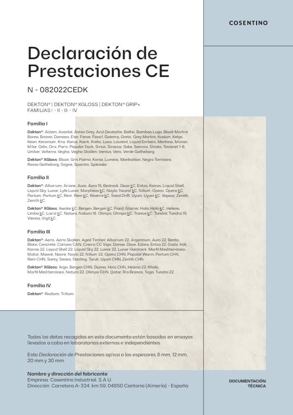 Dekton Declaración de Prestaciones ES