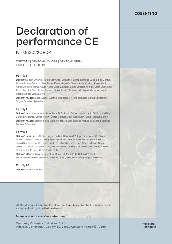 Dekton Declaration of Conformity CE (EN)