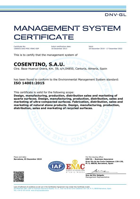 [CO] ISO 14001 Cosentino (EN)
