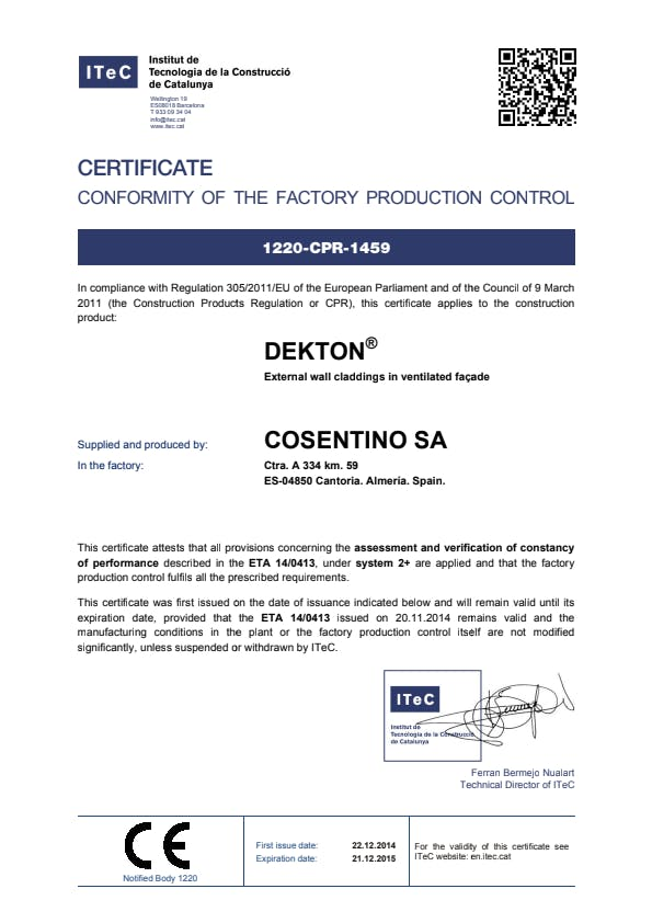 Dekton certificate conformity factory production control EN