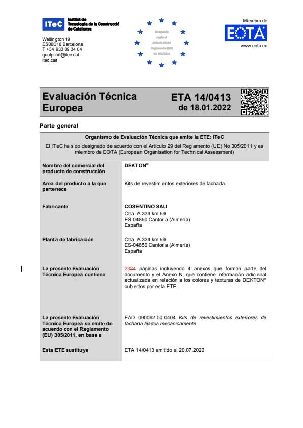Dekton Certificación ETA ES