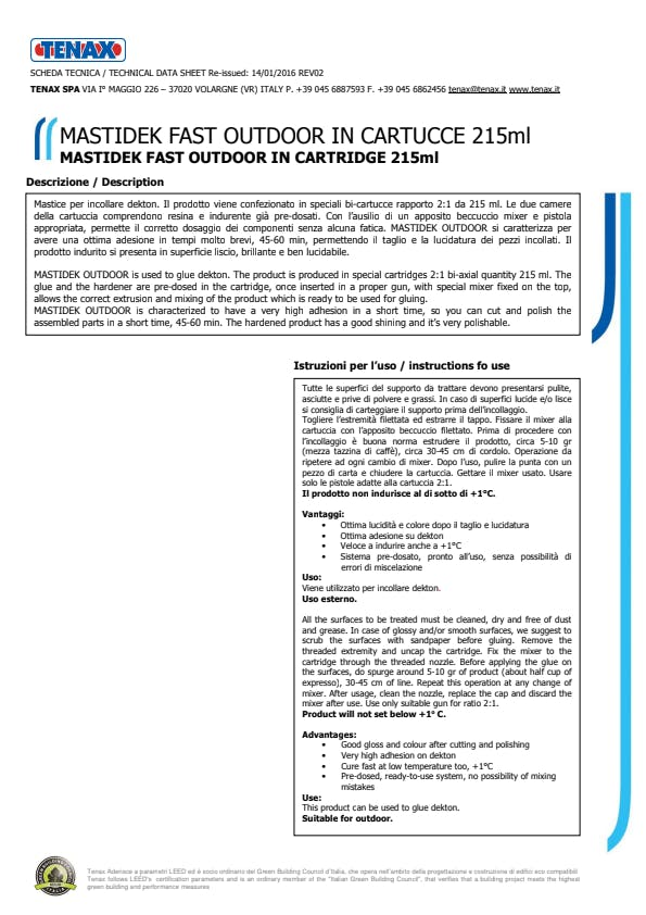 Microsoft Word - CARTUCCE MASTIDEK FAST OUTDOOR COLORATO 215 ML REV.02 ita-ing