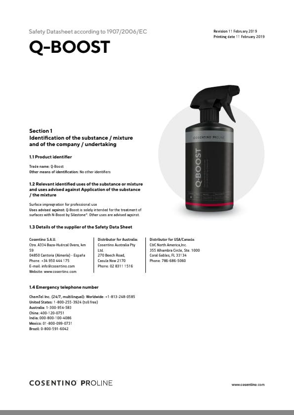 Cosentino Safety Datasheet - Q-BOOST - EN