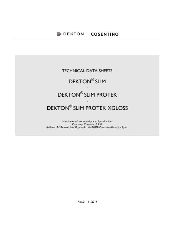 Dekton Slim technical datasheet UNE+ASTM EN
