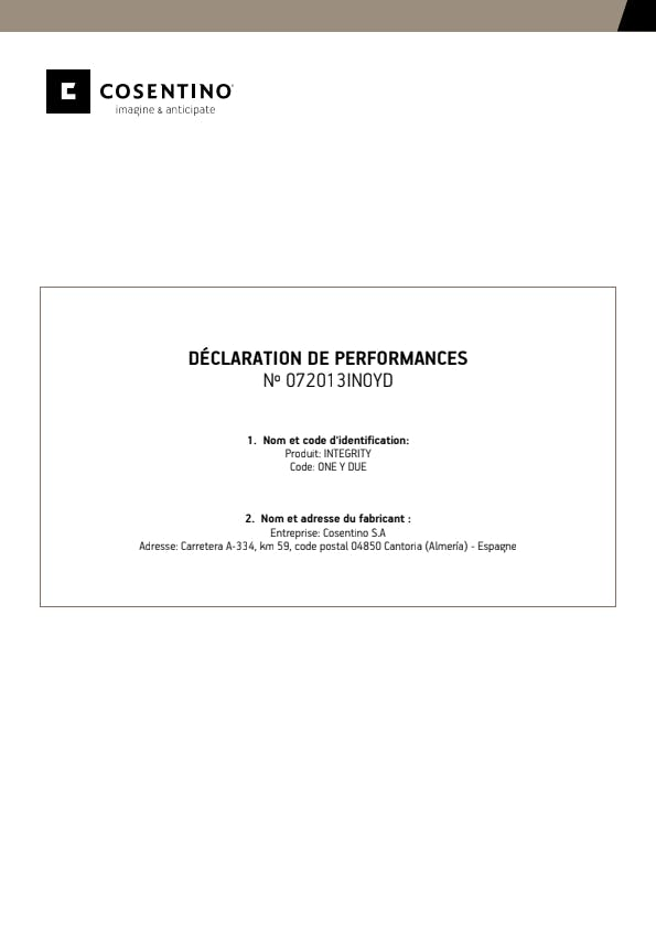 Déclaration de Performances Integrity