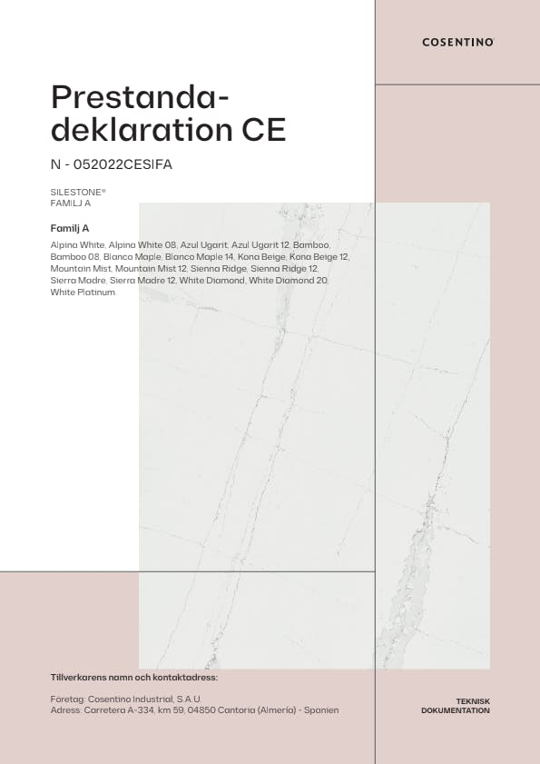 Silestone Försäkran om Överensstämmelse CE (SE)