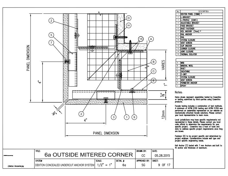 DEKTON Detail 06a  Ouside Miter Corner EN