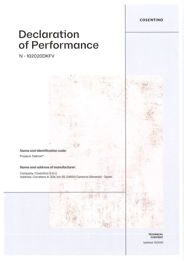 Dekton Declaration of Performance Ventilated Facade (EN)