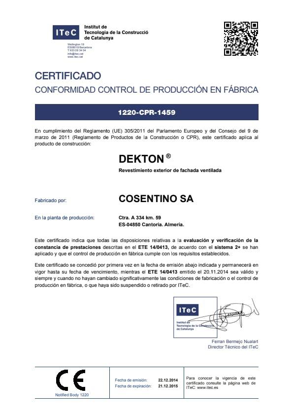Dekton Certificado conformidad control de Producción en Fábrica ES