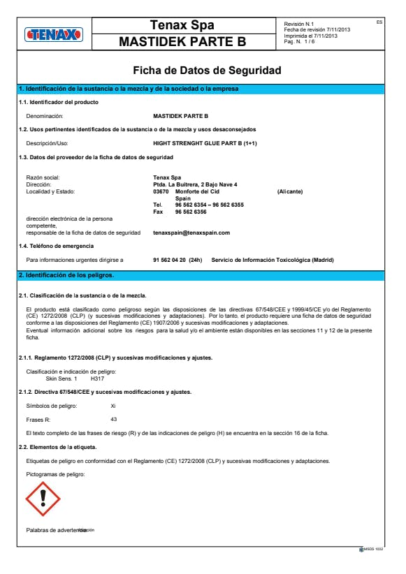 mastidek-part-b-safety-datasheet-ES