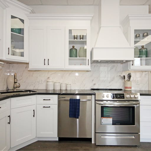 White Kitchen with black silestone