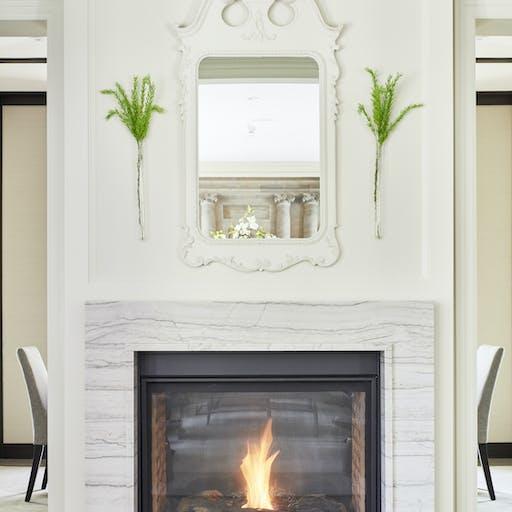 White Macaubas Fireplace