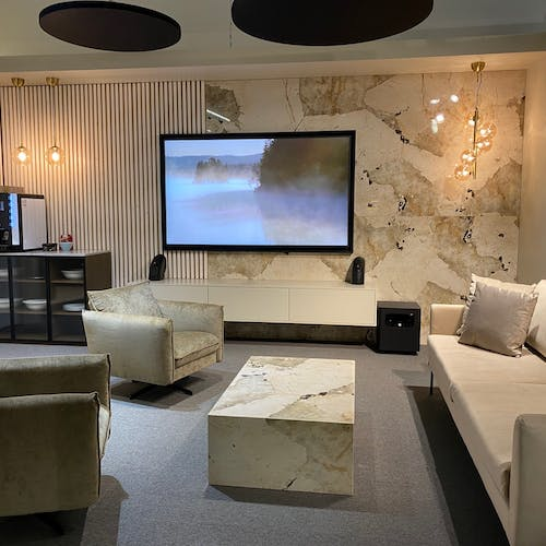 Image of dekton khalo lounge space walling and table cube in Bekleidungen - Cosentino