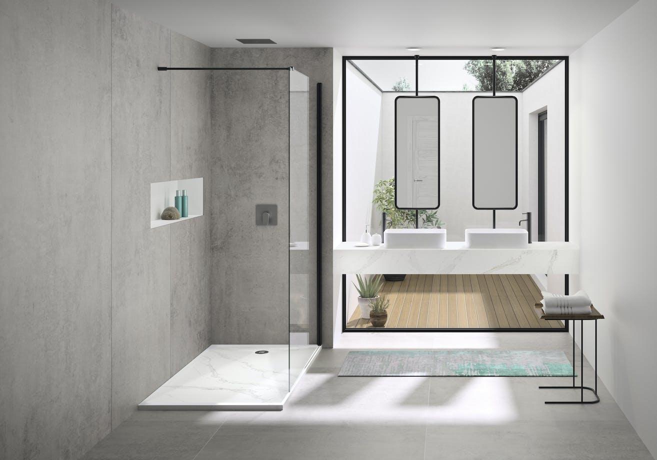Dekton Kreta and Silestone Calacatta Gold Bathroom