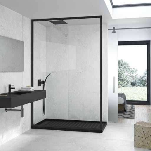 Silestone Silver Lake and Iconic Black Bathroom