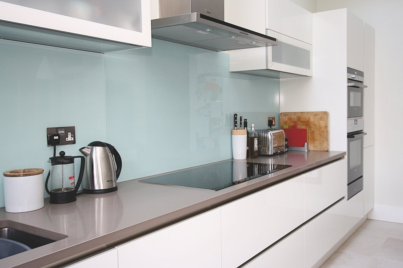 White & Grey Handleless Kitchen
